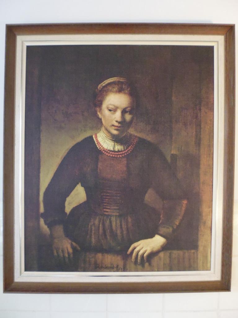 """Rembrandt reproductie """"jonge vrouw over onderdeur kijkend"""" nr2"""