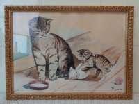 Gesigneerde tekening of schildering met katten uit 1954
