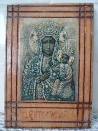 Fraai houten icoon met Maria en Jezus