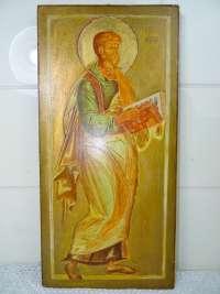 Groot houten icoon met Heilige Mattheus