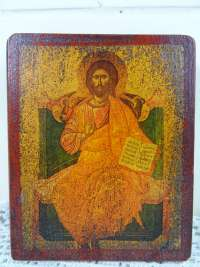 Houten icoon Christus op troon