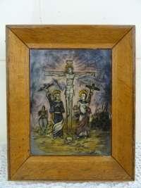 Gebrandschilderd icoon Jezus aan het kruis