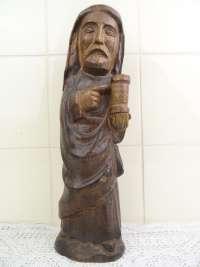 Antiek houten beeld Heilige man