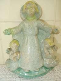 Aardewerk reliëf Kindje Jezus en engelen