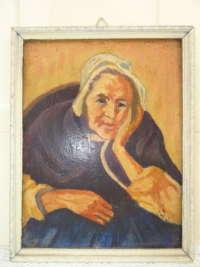 Lieflijk schilderijtje met oude vrouw