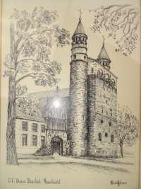 Ingelijste prent of tekening O.L. Vrouw Basiliek Maastricht H Schiffeleers