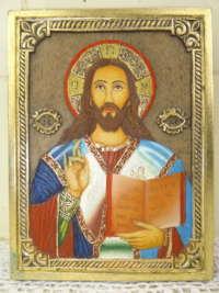 Hout-gesneden icoon Jezus Christus