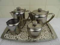 Antiek roestvrijstalen koffieservies