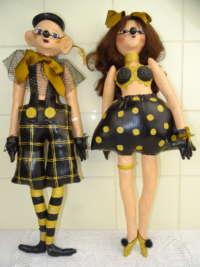 Twee lieflijke clown poppen
