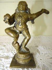 Antiek bronzen beeldje Boeddha met slang