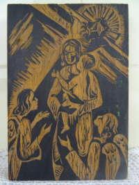 Antiek houtsnijwerk Maria en engelen