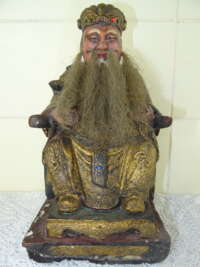 Antiek houten beeld God of Wealth