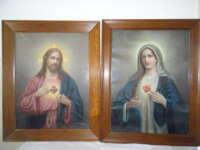 Antieke prenten Jezus en Maria in lijst Wilhelm Ebbinghaus