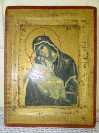 Antiek icoon Maria en Jezus