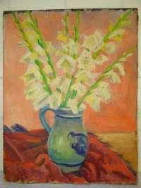 Antiek schilderij met bloemen Constant Grooten