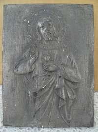 Antiek tinnen icoon Jezus Christus