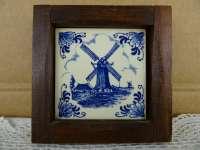 Antiek Delfts blauw tegeltje met molen