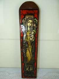 Antiek geëmailleerd icoon Heilige Maria