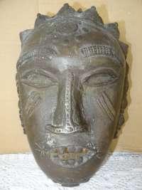 Antiek bronzen Dan masker